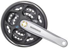 SHIMANO kliky s převodníky FC-M311, 175mm/48x38x28z stříbrné + kryt