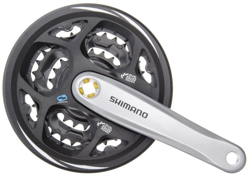 kliky shimano FC-M311, 175mm/48x38x28z stříbrné+kryt