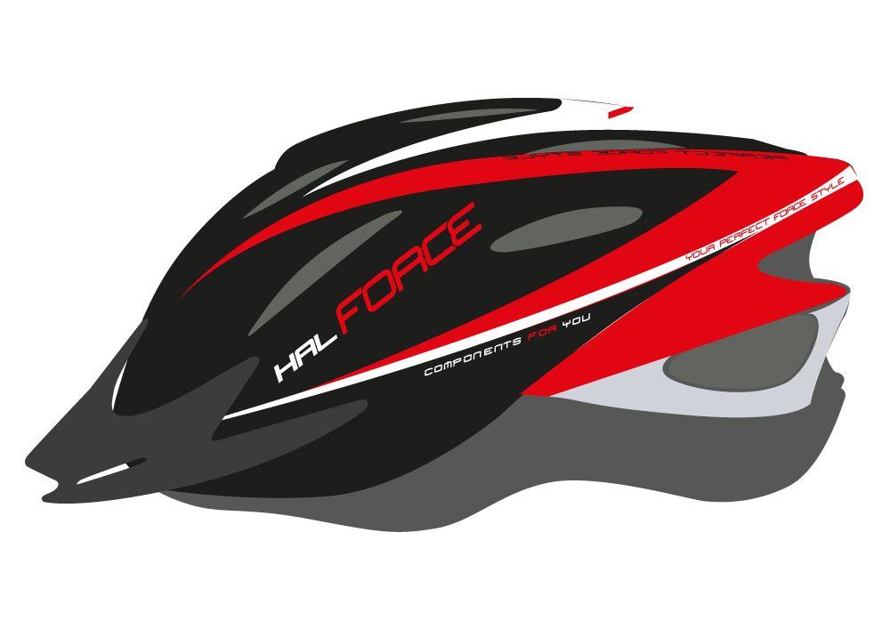 přilba FORCE HAL, černo-červeno-bílá XS-S